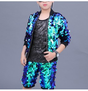 Boy green sequin jazz stage performance street hiphop dance costumes kids children modern dance drummer model dance tops and shorts