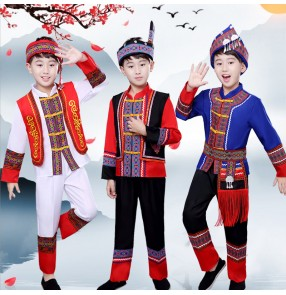 Boy hmong minority miao chinese folk dance costumes kids children drama cosplay costumes