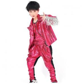 Boy hot pink sequin jazz dance outfits kids singers street hiphop dance gogo dancers rap dance costumes drummer host model performance costumes