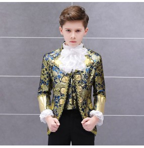 Boy jazz dance blazers coats and pants red gold stage performance European palace drama cosplay stage performance coats and pants