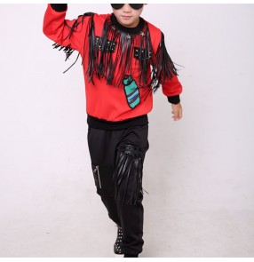 Boy jazz dance costumes children hiphop stage performance cosplay street modern dance tops and pants