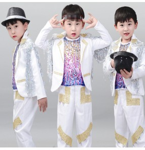 Boy jazz dance costumes for children white colored modern dance street hiphop drummer singers host chorus stage performance tops and pants