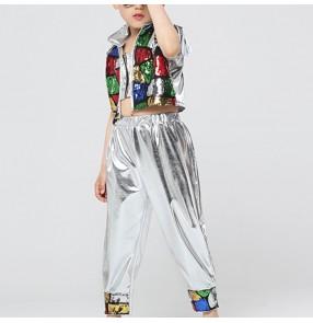 Boy jazz dance costumes kids children modern dance silver sequin modern hip hop robot dance drummer stage performance outfits
