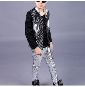 Boy jazz dance costumes kids children rivet stage performance professional drummer model show host singers jacket and pants