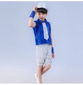 Boy jazz dance costumes kids children royal blue silver hiphop modern dance stage performance singers ds dj dancing tops and shorts