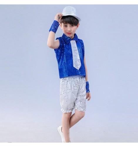 19873a21af4e Boy jazz dance costumes kids children royal blue silver hiphop ...