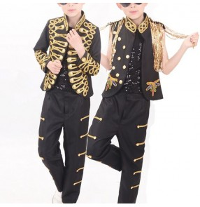 Boy jazz dance costumes kids children singers party stage performance drummer competition march cosplay outfits tops and pants