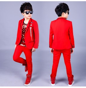 Boy jazz dance costumes red orange modern dance singer host stage party cosplay drummer performance chorus school competition coats and pants and vests