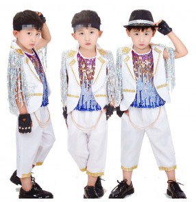Boy jazz dance costumes white paillette children show party model stage performance drummer competition photos anime cosplay outfits dancewear