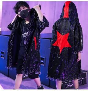 Boy jazz dance hiphop dance cloak kids children singers stage performance gogo dancers model show performance coats