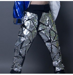 Boy jazz dance laser leather pants handmade drummer model show stage performance competition hiphop gogo dancers trousers