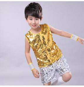 Boy jazz dance outfits gold sequin paillette modern dance street hiphop drummer performance competition tops and shorts