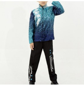 Boy jazz dance outfits modern dance street blue paillette singer chorus model show drummer stage performance t shirts jacket and pants