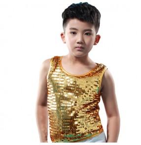 Boy jazz dance vest  for kids children modern dance sequin glitter stage performance hiphop singers drummer competition tops