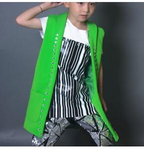 Boy jazz dance vests green long length drummer fashion drummer stage performance singers host hiphop gogo street dance tops
