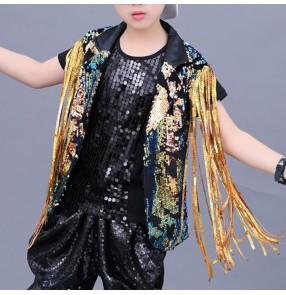 Boy jazz street hiphop dance costumes sequin fringes waistcoat kids children gold sequin drummer stage performance singers waistcoat