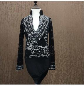 Boy kids black lace diamond competition latin dance shirts stage performance modern dance waltz tango ballroom dance body tops