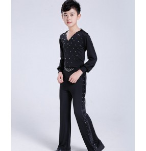 Boy kids black latin dance shirts and pants stage performance ballroom latin dance tops and trousers