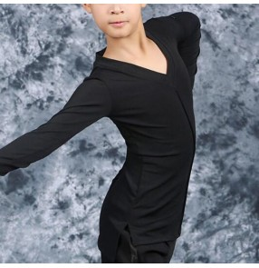 Boy kids black latin dance shirts ballroom dancing shirts chacha dance tops shirts