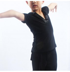 Boy kids black v neck latin ballroom dance shirts stage performance ballroom waltz tango dance tops shirts