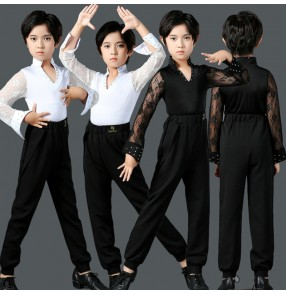 Boy kids black white lace long sleeves latin dance shirts and trousers for children juvenile ballroomm latin waltz tango stage performance dance tops and pants