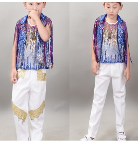 Boy kids blue sequin jazz dance costumes street hiphop model show drummer stage performance coat and pants and vests