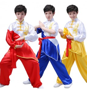 Boy kids children china kungfu uniforms dragon pattern costumes taichi training martial school competition stage performance clothing uniforms