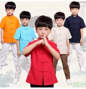 Boy kids children chinese folk dance tang suit stage performance kungfu tops chinese confucius school cosplay tops shirts