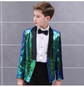 Boy kids children gold blue black sequin jazz singers coats modern dance model host stage performance blazers coats tops