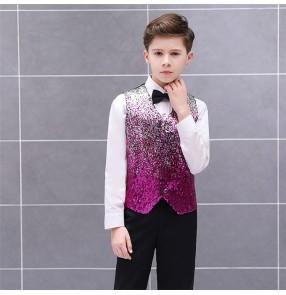 Boy kids children sequin jazz stage performance waistcoat red blue pink sequin model show singers host drummer dance vest