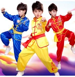 Boy kids chinese dragon traditional Taichi wushu martial uniforms children wushu training stage performance uniforms