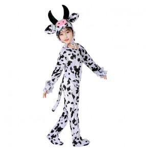 Boy kids Cow Cosplay Costumes children Funny drama cosplay Cow Jumpsuit for Carnival Party Using Cute Cow Pajamas Fancy Dress rompers