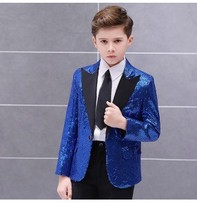 Boy kids jazz singers host stage performance sequin blazers red silver blue colored school show competition drummer model performance coats blazers