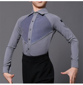 Boy kids latin dance body shirts black white grey colored modern dance ballroom dance leotard tops for kids