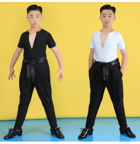 Boy kids latin dance shirts and pants ballroom stage performance modern dance ballroom dance costumes for kids Pantalon chemise de danse latine garçon
