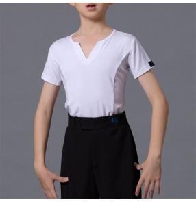 Boy kids Latin Dance Top Summer short-sleeved children's black white gray latin shirts body dance practice t-shirt