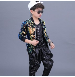 Boy kids street modern dance sequin costumes children school competition hiphop model drummer performance coat vest and harem pants