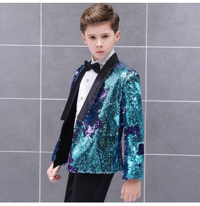 Boy kids turquoise sequin jazz dance blazers costumes kids children modern dance singers coats host stage performance blazers tops