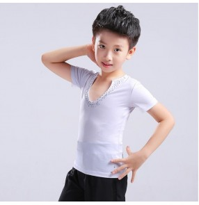 Boy latin ballroom dance shirts short long sleeves tops competition salsa samba dance shirts tops