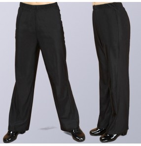 Boy latin ballroom dance straight long pants black colored stage performance wide leg dance pants for kids