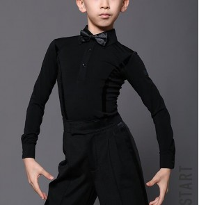 Boy Latin dance body shirts boys ballroom dance competition clothes practice clothes boys white black long-sleeved latin dance clothes tops