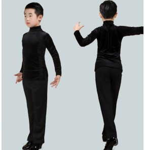 Boy Latin dance clothing velvet kids autumn and winter long-sleeved exercise latin dance shirts and wide leg latin pants clothes