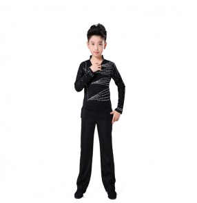 Boy latin dance shirts and pants set kids children rumba chacha modern dance stage performance tops and trousers costumes
