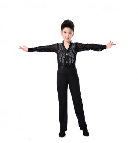 Boy latin dance tops and pants rhinestones black colored ballroom modern dance chacha salsa dance shirts and pants set costumes