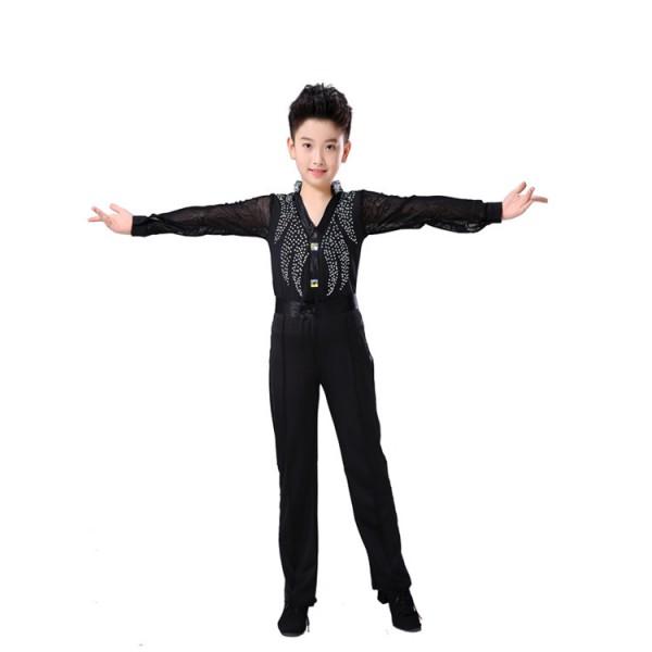Boys Latin Cha-cha Dancewear Costumes Kids Ballroom performance Dancing ToP+Pant