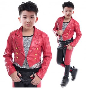 Boy leather black with red jazz dance costumes hiphop singers host drummer piano stage performance tuxedo top and pants