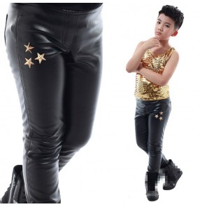 Boy leather jazz dance pants for kids white black tight stage performance fashion singers dancers professional long trousers
