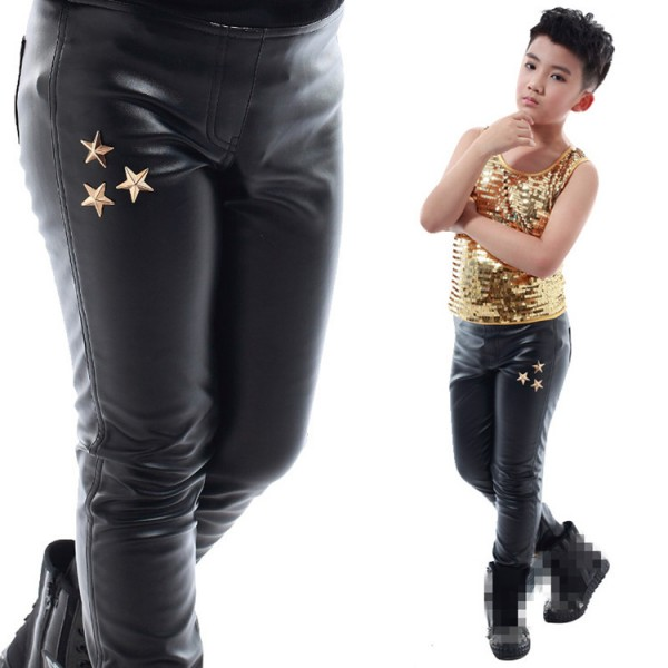 ff7e40f5ab Boy leather jazz dance pants for kids white black tight stage performance  fashion singers dancers professional long trousers