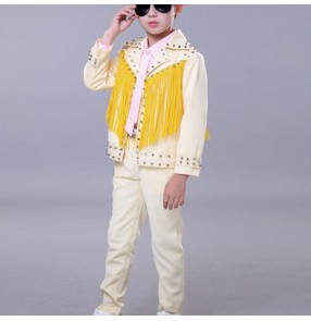 Boy light yellow rivet leather street jazz dance costumes gogo dancers drummer model singers show performance outfits coat shirt and pants