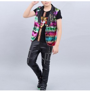 Boy modern dance jazz dance costumes paillette kids street hiphop dance stage performance clothes outfits dancewear